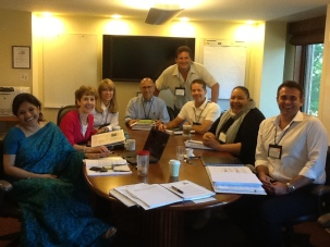 Executive Director Patti Donnelly with small group at Harvard Business School