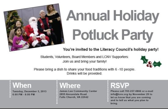 LCNV Holiday Potluck 2013  Invitation