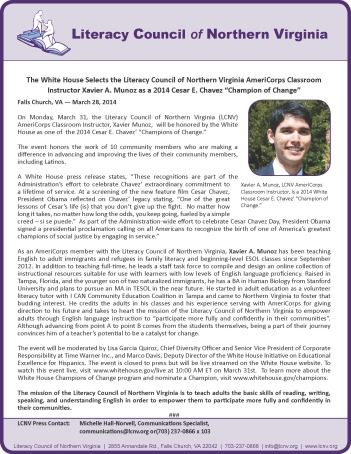 LCNV Cesar Chavez Champion of Change 2014 Press Release