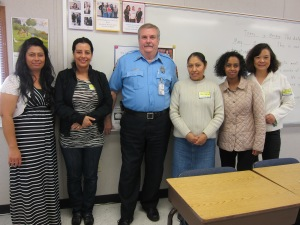 Chester Robinson, Crestwood Crossing Guard, and Crestwood Family Learning Program students
